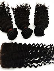 """4pcs lote 10 """"-28"""" remy brasileño extensiones de cabello virgen con cierre profundo grado 6a negro natural del pelo de la onda del pelo"""