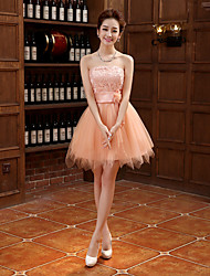 Cocktail Party Dress - Pearl Pink Plus Sizes Ball Gown Strapless Short/Mini Tulle