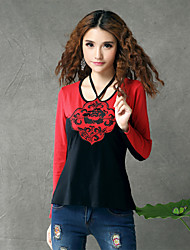 Skymoto Women's Vintage Halter Long Sleeve National Embroidery T-shirt