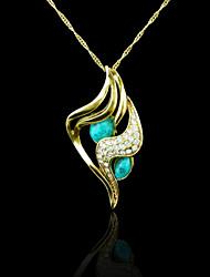 18k verdadeiro banhado a ouro pingente de turquesa 2,8 * 6 cm