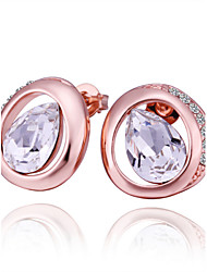 Crystal AAA Cubic Zirconia Stud Earrings Jewelry Women Daily Casual Crystal Alloy Zircon Rose Gold Plated 1 pair Rose Gold
