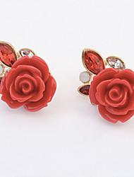 Earring Stud Earrings Jewelry Women Alloy 1set Beige / Red