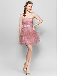 Knee-length Tulle Lace-up Bridesmaid Dress - Ball Gown Sweetheart with Crystal Detailing / Ruffles