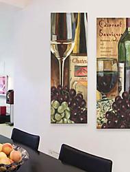 E-Home® Leinwand Kunsttraubenwein dekorative Malerei Satz 2