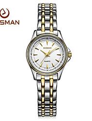 EASMAN Women's Sapphire Fashion Business Round Shape Stainless Steel Quartz Watch Movement Wristwatch