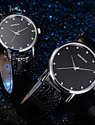 GoGoey Lover's Couple watch Elegant PU Strap Imitation Diamond Quartz Watch