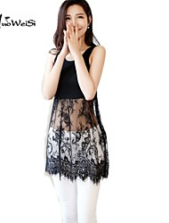Women's Vintage/Casual/Print/Lace/Party/Plus Sizes Micro-elastic Sleeveless Mini Dress (Chiffon/Lace)