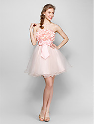Short / Mini Tulle / Stretch Satin Bridesmaid Dress - Lace-up Ball Gown Strapless with Bow(s) / Flower(s) / Sash / Ribbon