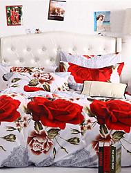 Mingjie rosas vermelhas branco conjuntos de cama 6d 4pcs queen size e roupa de cama de tamanho completo china conjuntos de cobertura