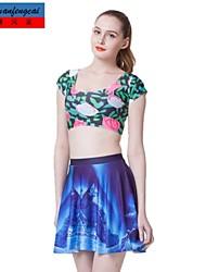 falda plisada impresión de la ropa de cmfc®women falda estampada sexy mediados de cintura delgada europa styel