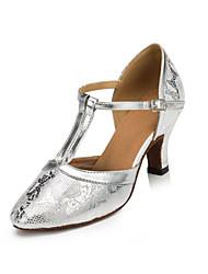 Chaussures de danse ( Argent ) - Non personnalisable - Talon Large - Flocage - Latine / Salsa