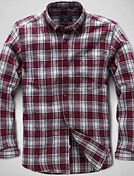 U&Shark New Hot! Men's Sanded 100% Cotton Leisure Flannel Long Sleeve Shirt with Red Black White Check/QFL001