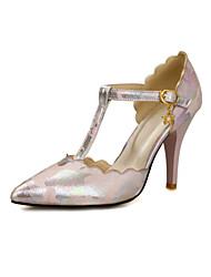 Women's Heels Spring Summer Fall Comfort PU Dress Casual Stiletto Heel Buckle Flower Black Blue Pink Beige Walking