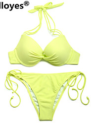 Colloyes Add-2-Cups Halter Top Set with Push-up Molded Cups Adjustable Halter Straps Bikinis Greenish Yellow Swimwear