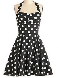 Women's Retro Slim Polka Dot Printing Halter Straps Dress