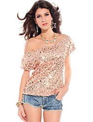 Tops Women's Sequined Sequins Black/Gold/Pink
