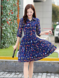 Women's Shirt Collar Oversize Print 3/4 Sleeve Dress
