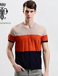 YINHUAWANGZI®Men's Printing Silk Tees Exempt Iron/Casual/Slim/Round-neck Short Sleeves Tees