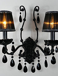 Wall Sconces Crystal Traditional/Classic Metal,2 Light Black