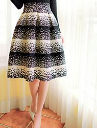 Women's White Skirts , Cute Knee-length