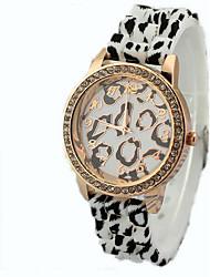 relógios de borracha da banda leopardo diamante das mulheres