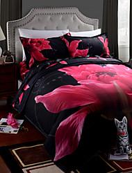 housse de couette, draps 4 pièces imprimées costume 3d peinture à l'huile ensembles de literie de lit en coton ensembles de draps de draps