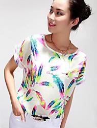 Mulheres Blusa Casual Simples Todas as Estações,Estampado Colorido Poliéster Decote Redondo Manga Curta Fina