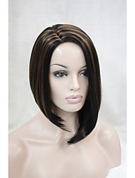 Asymmetrical no bangs dark brown with strawberry blonde highlight side skin top wig