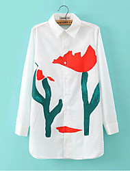 Women's Sexy/Casual/Tulip Print Inelastic Long Sleeve Long Shirt Blouse (Cotton)