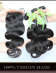 3 Bundles Brazilian Virgin Hair Body Wave With Closure Unprocessed Human Hair Weave And Free/Middle/3 Part Lace Closures