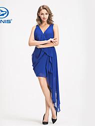 CANIS@Fashion Women's Summer Chiffon Slit Short Dress