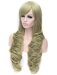 European and American Fashion Reseda Inclined Bang Curly  Hair Wig