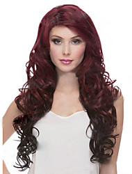 The New European And American Wine Red Color Mixing Long Hair Wig