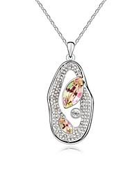 collar corto frijol enamorado plateado con 18k verdadera padparadscha platino cristalizó piedras de cristal austríaco