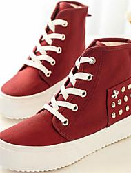 Scarpe Donna - Sneakers alla moda - Casual - Punta arrotondata - Piatto - Tessuto - Nero / Rosso