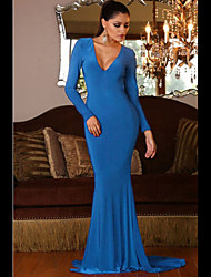 Women's Backless Long Sleeves Mermaid Evening Gown