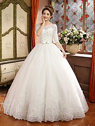 Ball Gown Sweep/Brush Train Wedding Dress -Off-the-shoulder Satin
