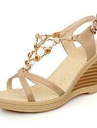 Sandalias ( Azul/Rosado/Dorado Zapatos con plataforma/Talón abierto - Tacón Cuña - Cuero sintético - para MUJERES