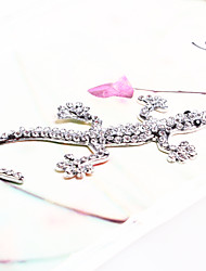 decoração do carro shunwei® metal sólido 3D com cristal de diamante casa lagarto prata
