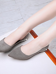 Women's Shoes Suede Flat Heel Comfort/Pointed Toe/Closed Toe Flats Casual Black/Pink/Gray