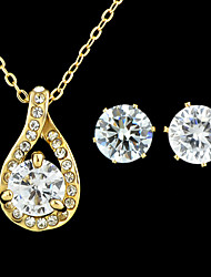 Latest Desigg Gold Plated Cheap Shining Rhinestone Wedding Jewelry Set