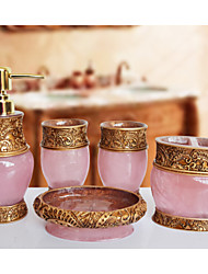 The Isabel Pattern Bathroom Ware 5 Sets/Pinnk
