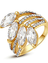 T&C Women's Exquisite Elegant Sapphire Finger Ring 18K Yellow Gold Plated 4 Pieces Clear Crystal Jewelry