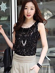 Women's Casual/Lace V-Neck Sleeveless Tops & Blouses (Lace)