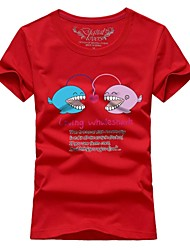 Paragraphs female couples summer short-sleeved t-shirts shark # 023