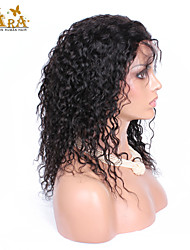 "8""-26"" Peruvian Virgin Hair Curly Glueless Full Lace Wig Color Black With Baby Hair for Black Women"