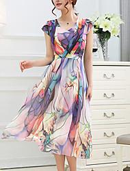 Women's Casual/Print Inelastic Short Sleeve Midi Dress (Chiffon)