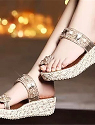 Women's Shoes Wedge Heel Toe Ring Sandals Dress Gold