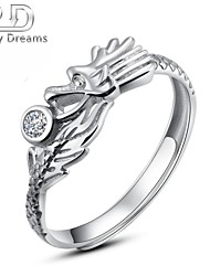 Poetry Dreams Sterling Silver Dragon Adjustable Ring Men's Ring
