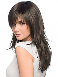 16 polegadas reta brasileiro do cabelo humano cor natural frente peruca